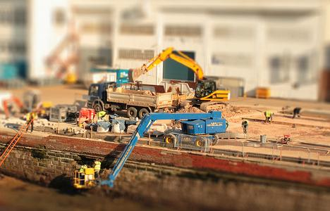 A Tilt-Shift Photograph of a Construction Site