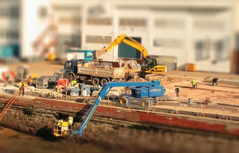 A Tilt-Shift Photograph of a Construction Site