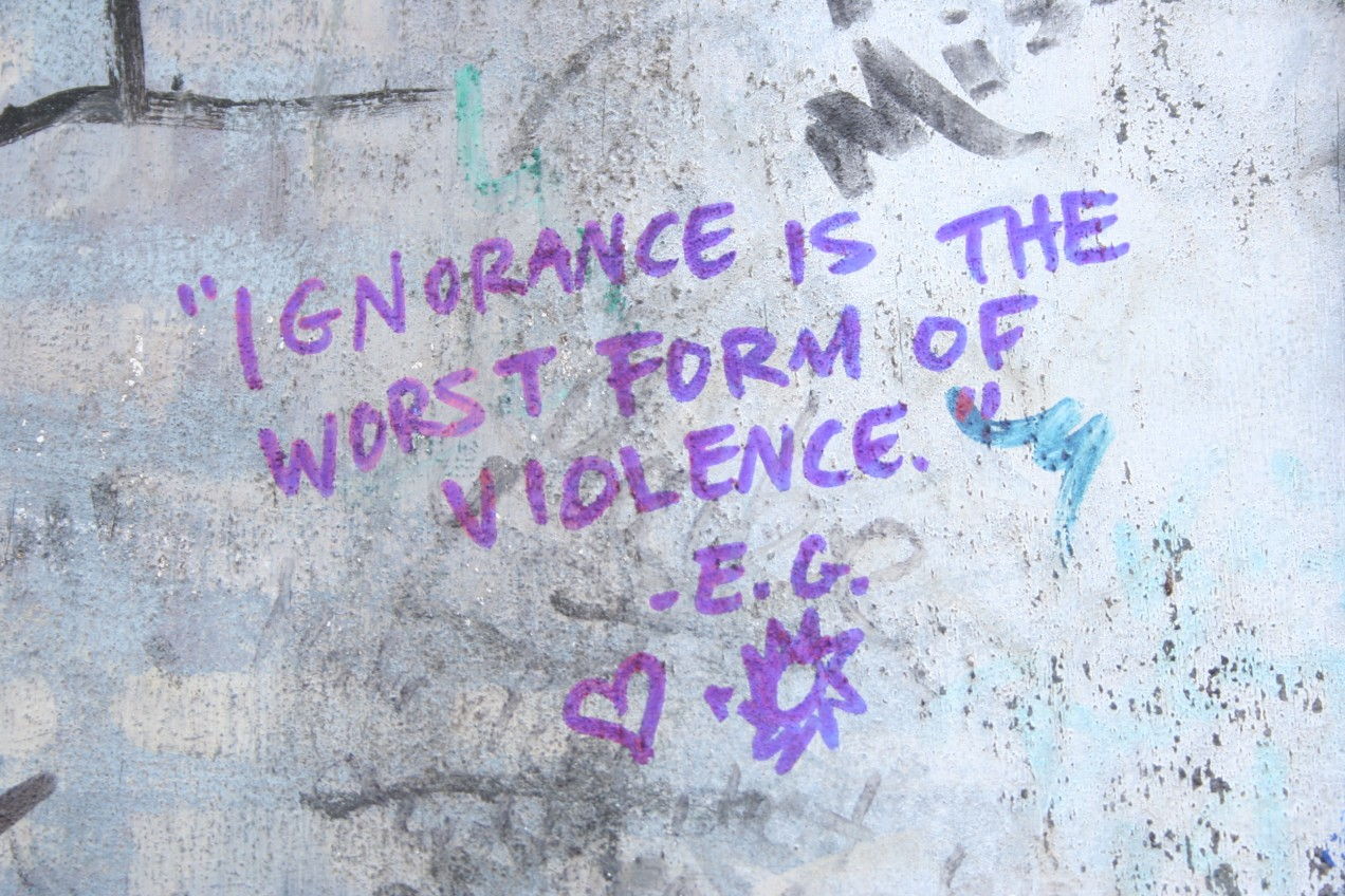 """Ignorance is the worst form of violence"" - E. G."